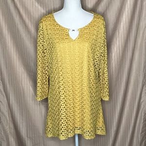 JM COLLECTION GOLD CROCHETED LINED TUNIC XL